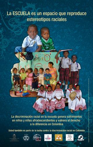 Afiche campaña contra la discriminación racial - escuela