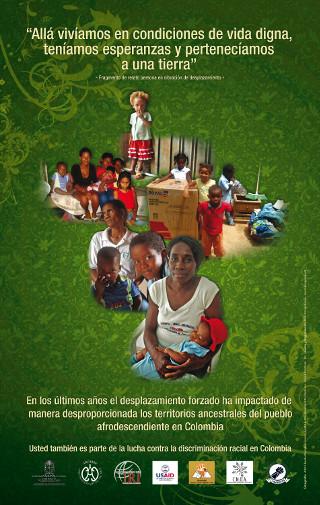 Afiche campaña contra la discriminación racial - racismo y desplazamiento