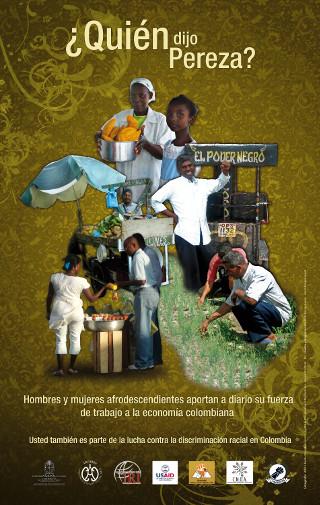 Afiche campaña contra la discriminación racial - trabajo